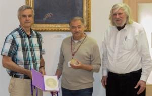 Hausdorff medal 2015 - John Steel (left), Istvan Juhasz (centre) and Ronald Jensen (right) - photo by Hugo Nobrega